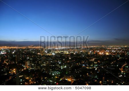 Mexico City Skyline At Twilight
