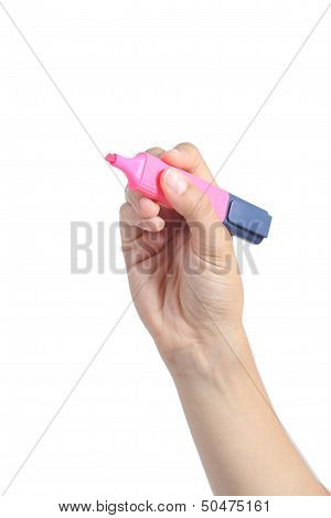 Woman Hand Holding A Pink Marker