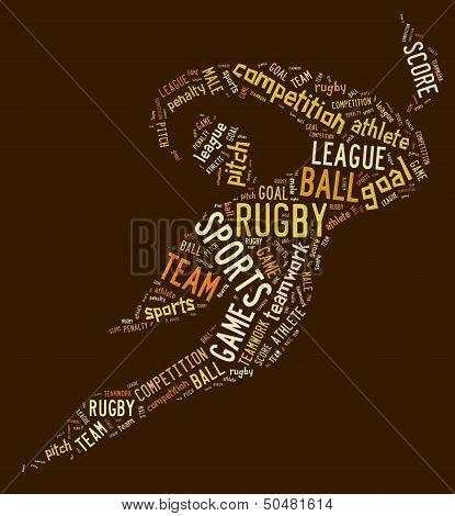 Rugby Football Pictogram With Brown Wordings