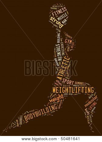 Weighlifting Pictogram With Brown Wordings