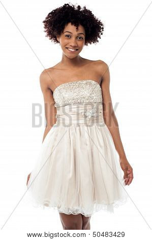 Cheerful Glamorous Model In White Frock