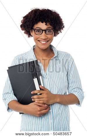 Secretary Holding Business Files, Expressing Excitement