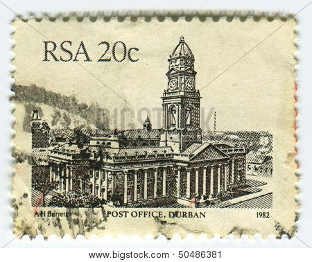 RSA - CIRCA 1982: A stamp printed in RSA shows image of The city post office was built during the 1880's and served as the town hall until the union was formed in 1910, circa 1982.