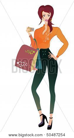 Fashion Woman with Golden Credit Card