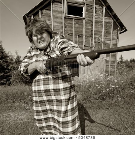 Angry Woman With Big Gun