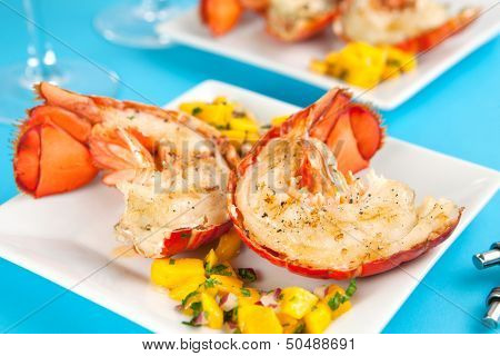 Grilled lobster tails with mango salsa