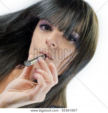 Beautiful Girl Smoking Electronic Cigarette