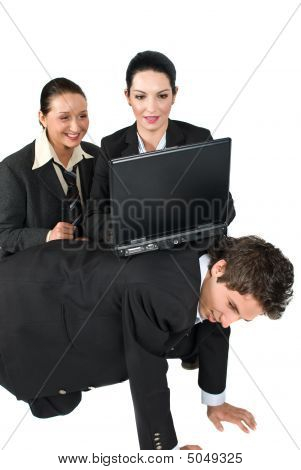 Funny Situation Business People With Laptop