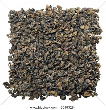 Gunpowder tea isolated on white