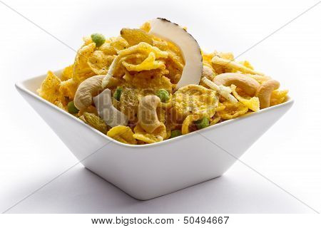Indian snack in bowl white isolated.
