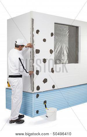 Worker Fixing A Corner-lath