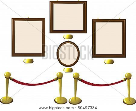 Empty Wooden Frames In A Museum