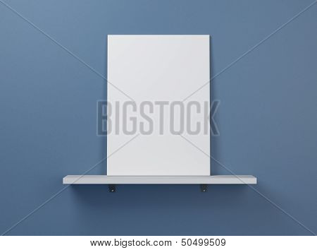 blank poster on a shelf