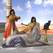 stock photo of cleopatra  - A servant girl brings Cleopatra some fruit to eat in the Old Kingdom of Egypt - JPG