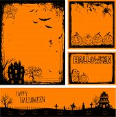 picture of moon silhouette  - Multiple orange Halloween banners and backgrounds eps 10 - JPG