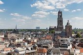 stock photo of dom  - Aerial cityscape of medieval city Utrecht fourth city of the Netherlands - JPG