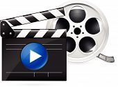 stock photo of crew cut  - Open movie clapboard and  realistic reel of film - JPG
