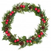 image of greenery  - Christmas wreath with red baubles - JPG