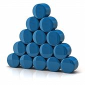 image of cylinder pyramid  - 3d illustration of pyramid made from blue cylinders - JPG