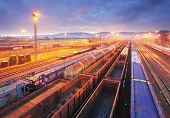 stock photo of dispatch  - Freight Station with trains  - JPG