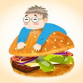 stock photo of chibi  - Man on Burger Vector Character - JPG
