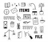stock photo of lamp post  - Vector collection of hand drawn doodles of business objects and office items - JPG