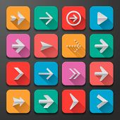 Set arrows icons, flat UI design trend