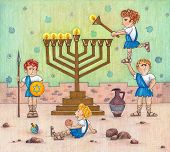 stock photo of menorah  - Funny Illustration of the Maccabees lighting a menorah - JPG