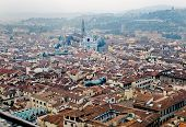 Florence Panoramic View And The Basilica Di Santa Croce In The Distance. Florence, Italy