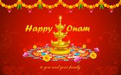 stock photo of onam festival  - illustration of Happy Onam decoration with diya and rangoli - JPG