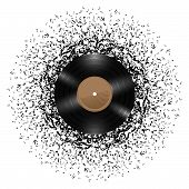 image of mass media  - Vinyl disc with mass of music notes around it - JPG