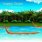 stock photo of pookolam  - illustration of Boat Race of Kerla on Onam - JPG