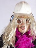 image of hermaphrodite  - Man with blonde wig and fuchsia boa - JPG