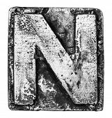 picture of letter n  - Metal alloy alphabet letter N - JPG