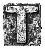 image of alloy  - Metal alloy alphabet letter T - JPG