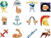 picture of weight-lifting  - A conceptual icon set relating to strength and being strong - JPG