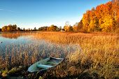 stock photo of glorious  - Glorious October morning with autumn colors in Scandinavia - JPG