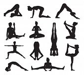 stock photo of pilates  - A set of highly detailed high quality yoga or pilates pose silhouettes - JPG