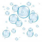 foto of soapy  - Transparent soap bubbles on white background photo realistic vector - JPG