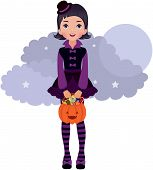 stock photo of lolita  - Vector illustration Gothic Lolita girl in Halloween - JPG