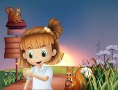 stock photo of hilltop  - Illustration of a cute little girl at the hilltop with squirrels and empty signboards - JPG