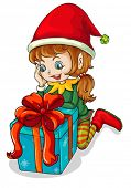picture of beside  - Illustration of an elf beside a gift on a white background - JPG