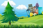 pic of prism  - Illustration of the hills with buildings - JPG