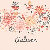 stock photo of fill  - Autumn seamless pattern with cute birds - JPG