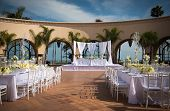 stock photo of ceremonial clothing  - Image of a beautifully decorated outdoor wedding venue - JPG