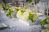 stock photo of banquet  - Image of a beautifully decorated wedding venue - JPG