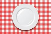 image of plating  - vector red picnic cooking tablecloth and empty plate - JPG