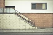 picture of bannister  - Flight of stairs outside a modern building - JPG