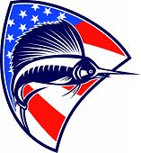 foto of sailfish  - Illustration of a sailfish fish jumping with American stars and stripes flag in background set inside shield done in retro style - JPG