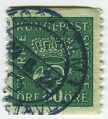 SWEDEN-CIRCA 1923 A stamp printed in Sweden shows image of The post horn (also posthorn, post-horn)